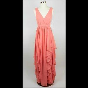 LULU'S Coral pink sleeveless long formal dress